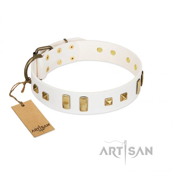 """Wintertide Mood"" FDT Artisan White Leather German Shepherd Collar with Old Bronze-like Plates and Studs"