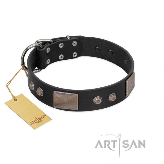 """Square Stars"" Modern FDT Artisan Black Leather German Shepherd Collar with Square Plates and Studs"