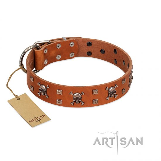 """Rebellious Nature"" FDT Artisan Tan Leather German Shepherd Collar Embellished with Crossbones and Square Studs"