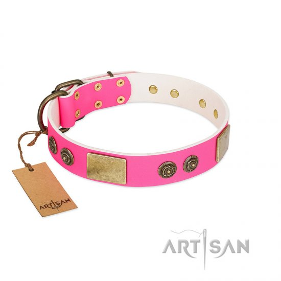 """Queen's Whim"" FDT Artisan Fancy Walking Pink Leather German Shepherd Collar Adorned with Old Bronze-like Plates and Studs"