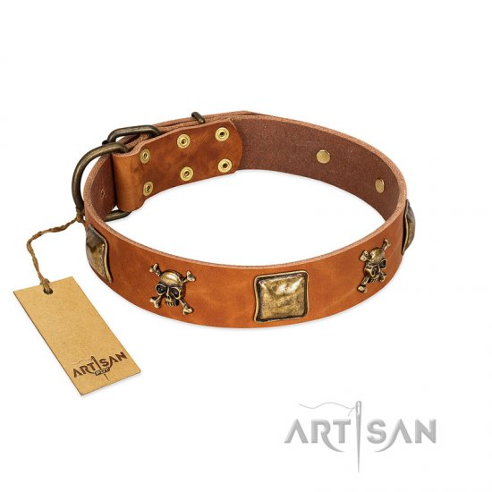 """Knights Templar"" FDT Artisan Tan Leather German Shepherd Collar with Skulls and Crossbones Combined with Squares"