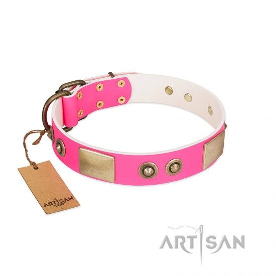 """Pink Splash"" FDT Artisan Soft Leather German Shepherd Collar with Bronze-like Plates and Medallions"