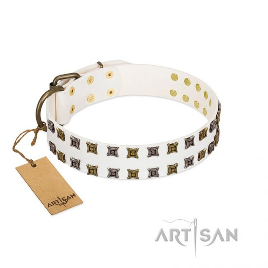 """Ice Peak"" FDT Artisan White Leather German Shepherd Collar with Silvery and Goldish Decorations"