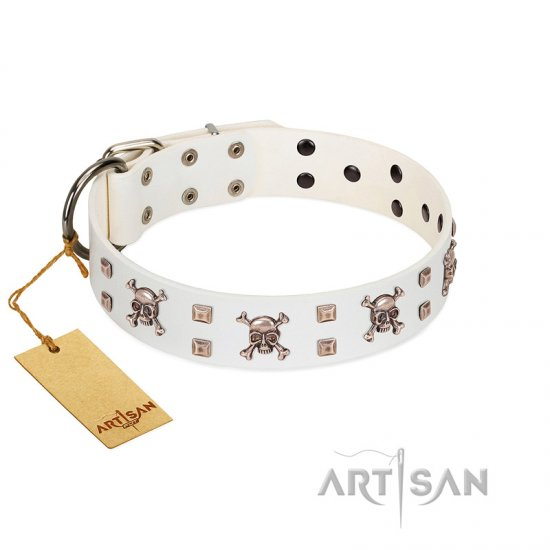 """Skull Island"" Premium Quality FDT Artisan White Designer German Shepherd Collar with Crossbones and Studs"