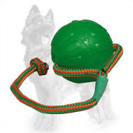 Rubber German Shepherd Ball with Rope / Floating Lightweight Chew Toy
