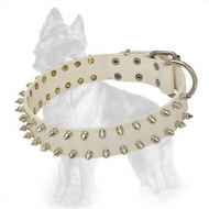 White Leather German Shepherd Collar with Spiked in 2 Rows