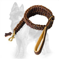 Hand Braided Leather German Shepherd Leash with Padded Handle