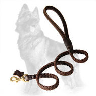 Braided Leather German Shepherd Leash with Round Handle