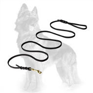 Show Leather German Shepherd Leash with Braids