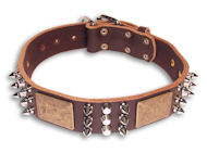 Leather Spiked Brown collar 25'' for GSD/25 inch dog collar-C86