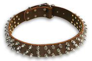 Spiked Brown collar 24'' for Alsatian Dog/24 inch dog collar-S44