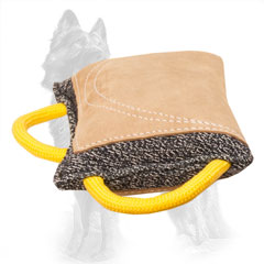 French Linen German Shepherd Bite Pad with Leather Area