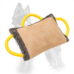 French Linen German Shepherd Bite Pad with Leather Area and 3 Handles