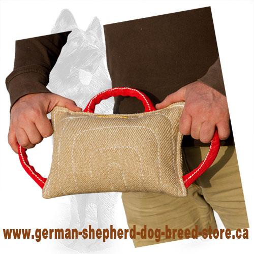 jute german shepherd bite pillow bite pad with 3 handles te7