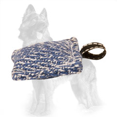 Compact French Linen German-Shepherd Bite Tug with Small Loop
