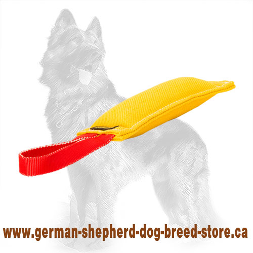 Small French Linen German Shepherd Bite Tug with Handle