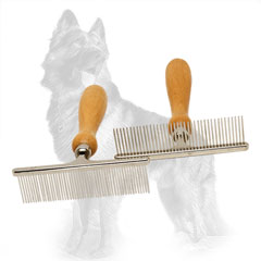 Metal German-Shepherd Brush with Comfortable Wooden Handle