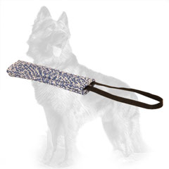 French Linen German Shepherd Bite Tug Stitched with One Handle