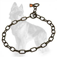 German-Shepherd Fur Saver Collar Black with 2 Rings and Herm Sprenger Label