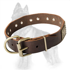 German Shepherd Buckled Leather Collar Equipped with Durable Brass Fittings