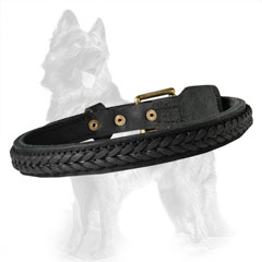 Reliable Leather German-Shepherd Dog Collar With Hand  Stitching And Rivets