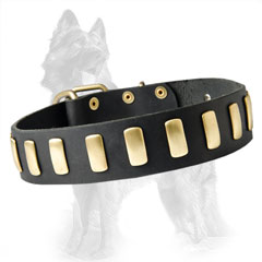 Stylish Wide Leather German Shepherd Dog Collar With  Decoration