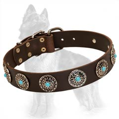 Leather German Shepherd Dog Collar Decorated With  Nickel Circles And Blue Stones