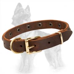 German Shepherd Buckled Leather Dog Collar Suitable for  Puppies