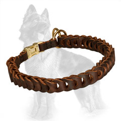 German Shepherd Choke Dog Collar with Rings and Buckle  Reliably Stitched to the Strap