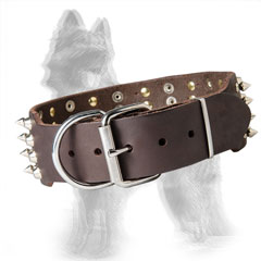2 inch Wide Spiked Leather German-Shepherd Collar with Nickel Plated Hardware