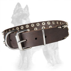 3 Rows Studded Leather German Shepherd Collar Equipped with Nickel Plated Hardware