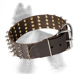 4 Rows Spiked Leather German Shepherd Collar with Nickel Plated Hardware