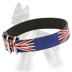 Buckle Leather German Shepherd Collar with British Painting