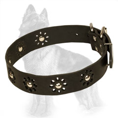 Leather German Shepherd Collar Flowers with Nickel Plated Studs