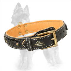 Nappa Padded Leather German Shepherd Collar Decorated with Braids