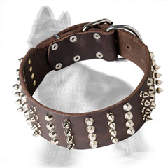 Leather German-Shepherd Collar Decorated with Nickel Plated Spikes and Cones