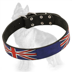 Leather German Shepherd Collar Painted with British Flag