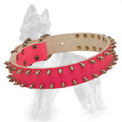 Pink Leather German-Shepherd Collar 2 Rows Spiked