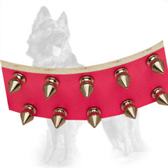 Pink Leather German-Shepherd Collar Strap with Nickel Plated Spikes