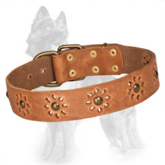 Studded Tan Leather German Shepherd Collar Punched with Flowers