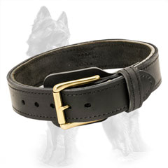 Adjustable Strong Two Ply Leather German Shepherd Collar