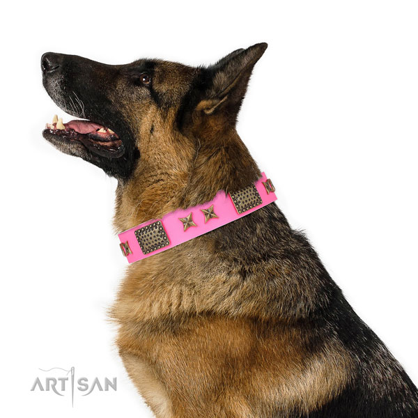 Significant decorations on comfy wearing natural genuine leather dog collar