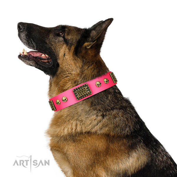 Rust-proof buckle on full grain natural leather dog collar for comfy wearing