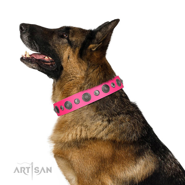 Unique genuine leather dog collar with corrosion resistant buckle