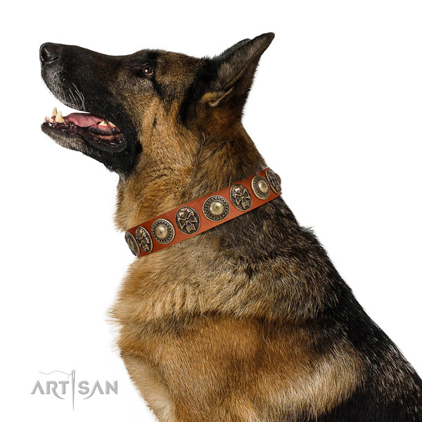 Handcrafted full grain genuine leather collar for your stylish dog