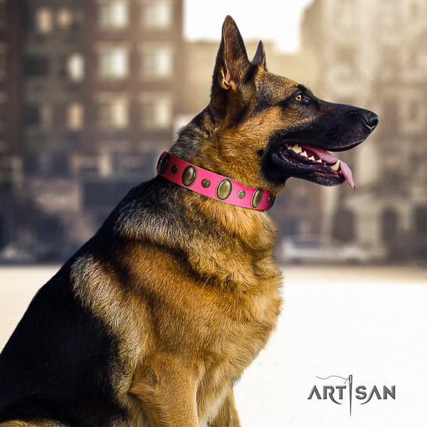 German-Shepherd Dog stylish decorated genuine leather dog collar for everyday walking