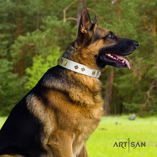 German-Shepherd Dog unique adorned full grain natural leather dog collar for fancy walking