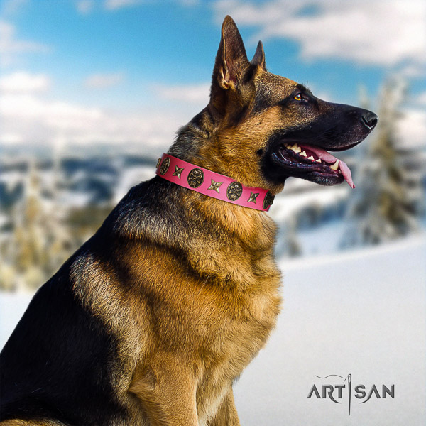 German Shepherd Dog inimitable decorated full grain genuine leather dog collar for daily use