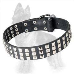German Shepherd Leather Dog Collar with 3 Rows of  Nickel Square Pyramids
