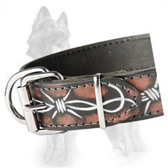 Unique Design Leather German Shepherd Dog Collar With  Nickel Fittings
